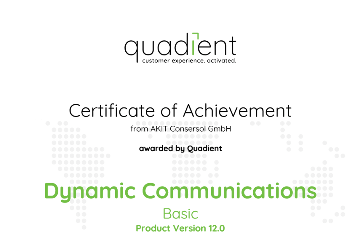 Zertifikat Quadient Inspire Dynamic Communication