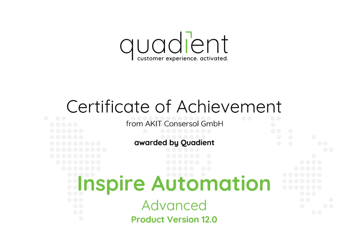Zertifikat Quadient Inspire Automation Advanced