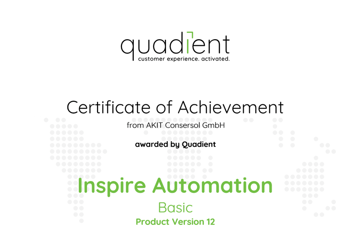 Zertifikat Quadient Inspire Automation Basic