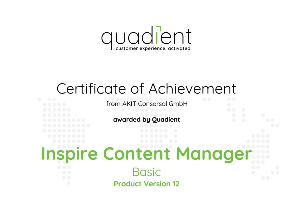 Zertifikat Quadient Inspire ICM