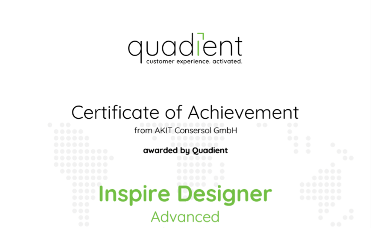 Zertifikat Quadient Inspire Designer Advanced