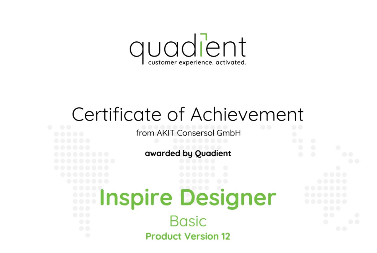 Zertifikat Quadient Inspire Designer Basic
