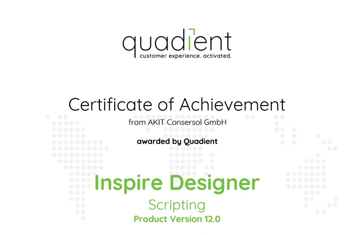 Zertifikat Quadient Inspire Designer Scripting