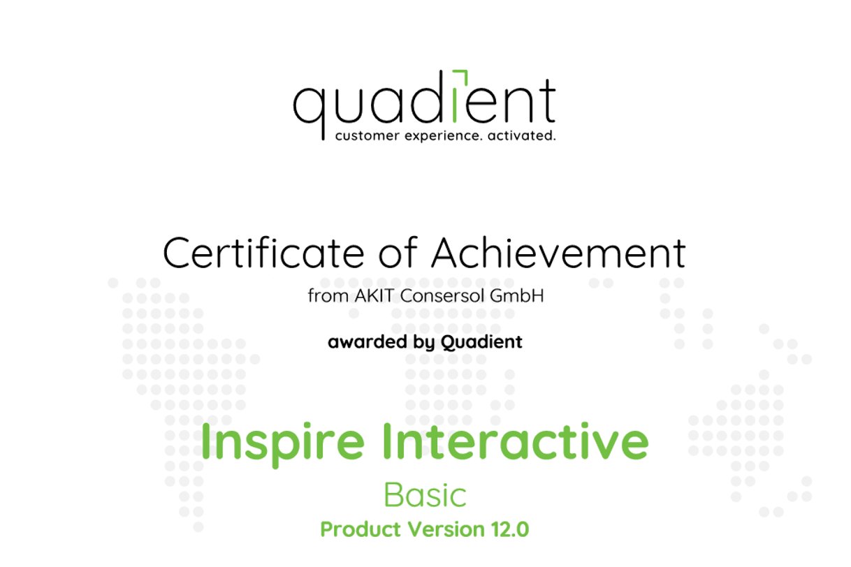 Zertifikat Quadient Inspire Interactive Basic