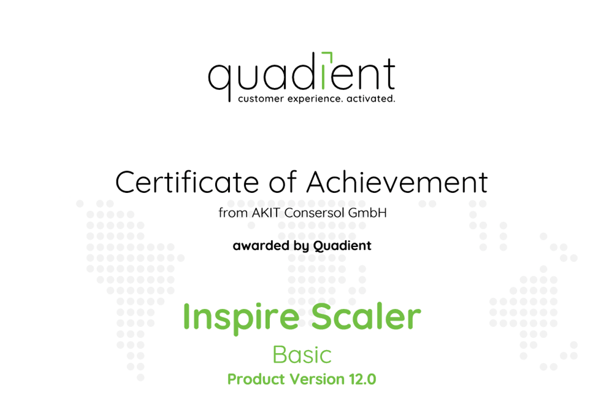 Zertifikat Quadient Inspire Scaler Basic